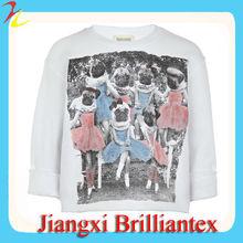Girls White Pug Print 100 cotton children Sweatshirt sweater designs for kids hand knitted