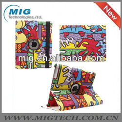 2013 new product double fishes kissing style leather case for ipad3 4, for ipad case with stand