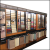 Wall carpet samples rolling rack display