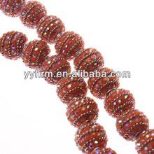 Newest orange color rhinestone resin ball beads.Glitter 18MM resin rhinestone paves seed indonesia spacer beads.