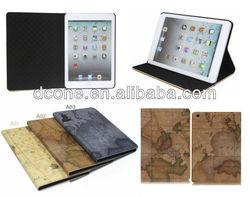 Fashion World Map Satnd Leather Case for Apple iPad Mini Book Style