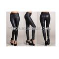 sexy de alta cintura negro de cuero de imitación slim fit pantalones leggings medias l1086