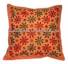 Flower Prints Kantha Work Cushion Covers / Indian Handmade Kantha Pillows