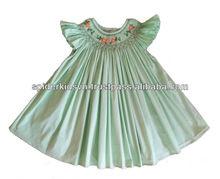 Baby Girls Lime Smocked Flower Bishop Dress