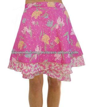 latest floral wrap mini skirt