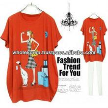 Wholesale Korean Fashion for woman, 2013 Korean Latest Fashion, Girl with Dog Printed T-shirt