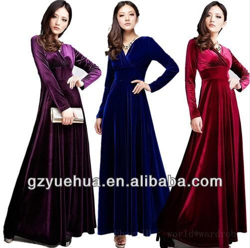 New Autumn Winter V Neck Gorgeous shimmer velvet stretchy long sleeve dress