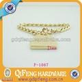 Parlak altın çinko alaşımı zinciri, metal çanta zincir özel etikel/etiket f-1067
