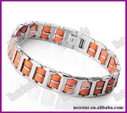 men's Silver Stainless Steel Bracelet Bangle Chain Orange Rubber