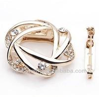A003 Fancy Rhinestone Circular Scarves Buckle Alloy Rose Gold Crystal Flower Corsage Pin Brooch