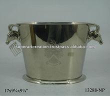 Metal Decorative Ice Buckets Dear Handles Silver Nickel Plated