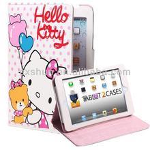 Hello Kitty Themed for Apple iPad Folio with Teddy Bear Pattern Leather Finish, Auto Sleep/Wake, Magnetic Closure