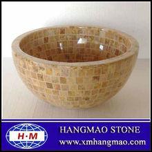 Yellow round marble mosaic sinks