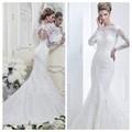 custom nova chegada sereia alta pescoço aberto para trás manga longa rendas do vestido de casamento