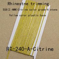 SS8 Crystal rhinestone trims,yellow color plastic cup chain for women dress, fashion rhinestone banding(RT-240-A-COL)