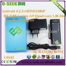 US642 U-SEEK Factory Wholesale Google Media Player RK3188 Quad Core, 2GB RAM 8GB ROM Android 4.2 watch free movies online intern