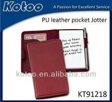 Wholesale Red leather pocket jotter notebook/pocket memo book cover