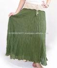 Green Long Cotton Skirt With Crochet Waist Thailand