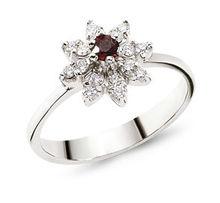 Diamond Design ruby ring 18K white gold
