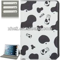 Milk Pattern Cross Texture Leather Case with Holder & Credit Card Slots for ipad mini / mini 2 Retina