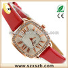 2013 fashion pertty christmas gift quartz wrist watches ladies ,leather red strap most nice christmas for girl/layds ,wife,daug