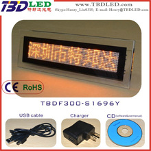 S1696 yellow crystal led message sign/mini rechargeable screen sign board