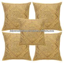 5 Piece Rich Gold Print Cushion Set