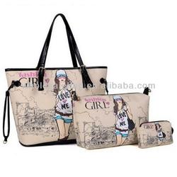 Retro Preppy Style Girl HandBag Wallet Purse Tote Bag /Bag in Bag Set