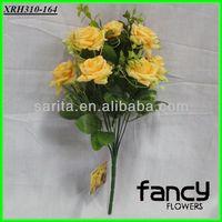 home&wedding decoration,10 heads orange quality artificial bride rose flowers bouquet bush making