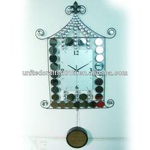 antique home decorative brief metal art diy blue led wall clock