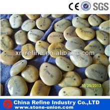Natural polished yellow pebble carving rocks
