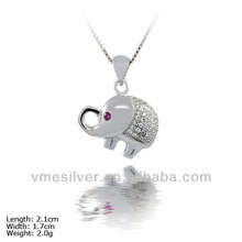 [PZZ-0005] 925 Sterling Silver Pendant with CZ Stones, Silver animal pendant