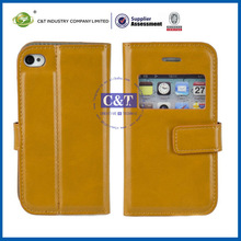 C&T credit card slot wallet leather case for iphone 4