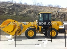 Chinese brand 3T 4WD wheel loader SAM836 with Cummins engine for sale