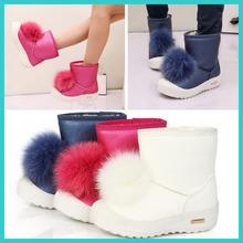 TS1033 2014 winter warm fur children boots Cute cartoon girl Waterproof leather boots
