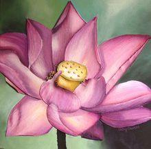 hand painted lotus flower oil painting
