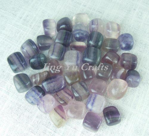 Natural Gemstone Purple Fluorite Tumble Stone Crystal Mineral Education Set