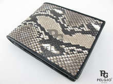 PELGIO Genuine Python Skin Men's Wallet Natural Color
