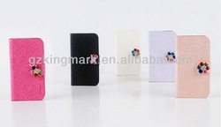 wholesale Bling Flower Leather Flip cover Case for Samsung galaxy note 2 N7100