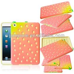 Strawberry silicone +PC Case cover For ipad mini