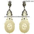 De la madre de perla 14 k oro cuelga los pendientes, Diamante 925 cuelga los pendientes, Pendientes de piedras preciosas de la joyería fabricante