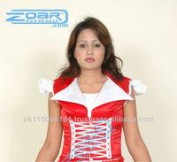 Red satin big collar ladies top blouse