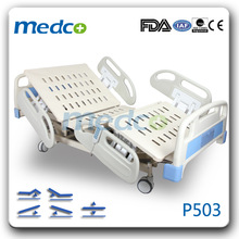 MED-P503 Five functions electric patient bed with wheels