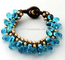 Bracelet Handmade Blue Bubbles & Brass Ball Mesh Web Thailand Fair Trade