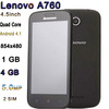 "Smart Phone with 4.5"" MSM8225Q Quad Core Android 4.1 854x480p 4GB ROM 1GB RAM 5.0MP Camera Original Lenovo A760 Smart Phone"