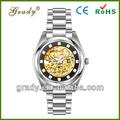 2013 novos produtos clássico ouro Tone Automatic Skeleton relógio mecânico movimento 8215 relógios homens