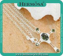 925 Silver Jewelry Peridot Cross Necklace Christian Accessory AN032