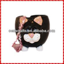 Lovely black cat shaped ceramic knitting yarn holder