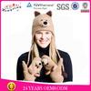 Teddy bear knitted winter warm earflap faux fur animal hat gloves