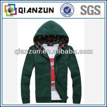 100% cotton men hooded fleece jacket